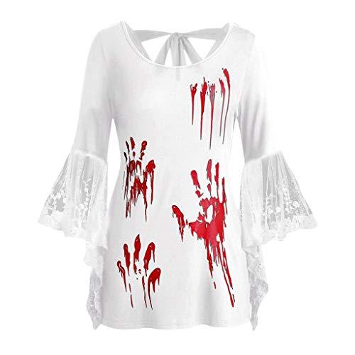 KPPONG Halloween Kostüm Damen Spitze Trompete Ärmel Pullover Palm Horrormuster Blut Oberteile Tops Shirts Hemd Bluse mit Schleife