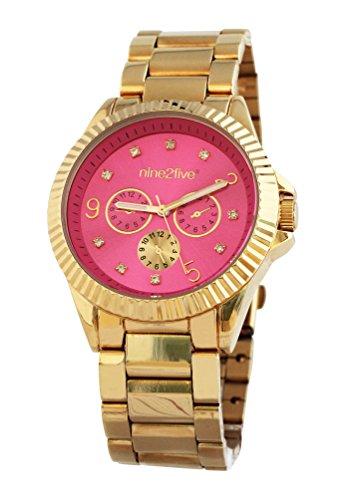 nine2five afcy07glrs Mujer Pulsera Banda Esfera Rosa Reloj de oro de acero inoxidable