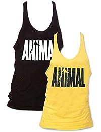Pack of 2 Men Animal Letter Print Muscle Gym Stringer Tank Top for Bodybuilding