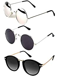 Y&S Aviator Unisex Sunglasses (Black) -Combo of 3