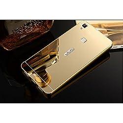 nKarta (TM) Branded Luxury Metal Bumper Acrylic PC Mirror Back Mobile Cove Case For VIVO V3 (NOT FOR VIVO V3 MAX) - Gold