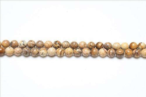Strang 38+ Blasse Beige Bilderjaspis 10mm Rund Perlen - (GS1647-4) - Charming Beads