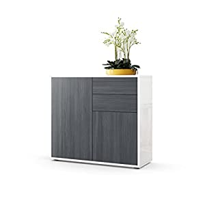 Vladon Cabinet Chest of Drawers Ben, Carcass in White High Gloss/Front in Avola-Anthracite