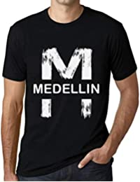 Hombre Camiseta Vintage T-Shirt Gráfico Letter M Countries and Cities Medellin Negro Profundo