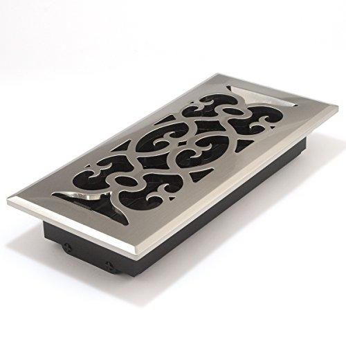 Deluxe Satin Nickel, Viktorianischer Stil, Boden Diffuser - 10.16 cm X 25.40 cm