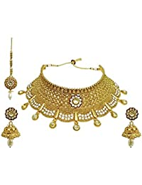 University Trendz Traditional Gold Plated Kundan Choker Necklace Set For Women