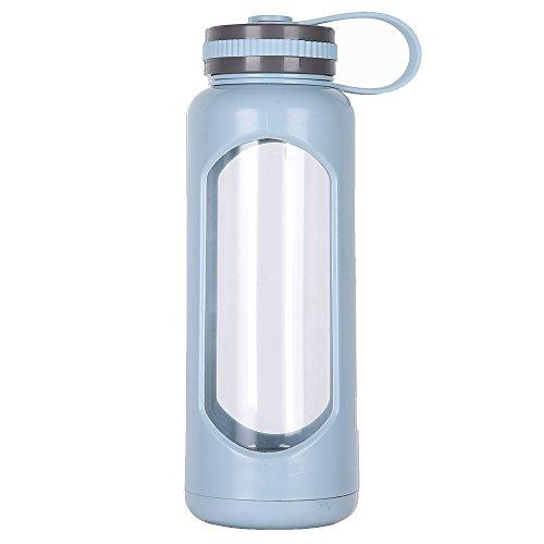 weitinena 33 oz Glas Wasser Flasche PC Sleeve auslaufsicherer Deckel 1l Kapazität BPA-frei -
