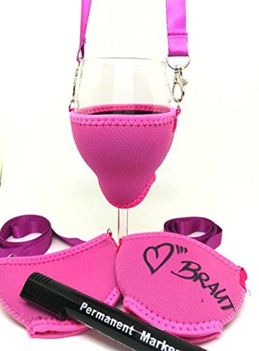 WineHolder - 3 x Weinglashalter für den Hals, 3er Set, Junggesellinnenabschied Set, Inkl. Halstrageband , Glashalter, Weinhalter, JGA, Hochzeit