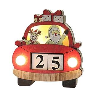 Amosfun – Calendario Luminoso de Navidad, Calendario de Cuenta atrás, Calendario de Papá Noel, Bloques de Calendario de Alce para Navidad, centros de Mesa, decoración de Escritorio sin batería