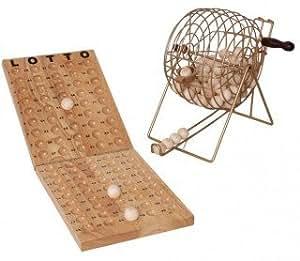 lotto bingo spiel mit gro er lostrommel und 90 holz kugeln spielzeug. Black Bedroom Furniture Sets. Home Design Ideas