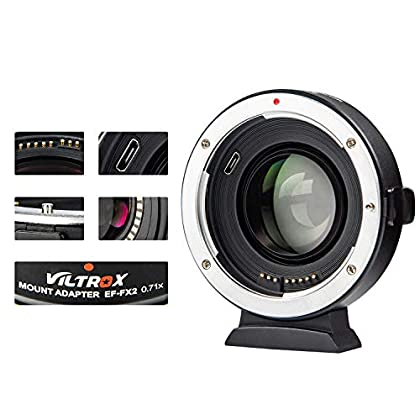 VILTROX EF-FX2 - Adaptador de Objetivo Reductor de Enfoque automático para Canon EF Mount Lens to Fujifilm X-Mount Mirrorless Cameras X-T3/X-T100/X-PRO2/X-E3/X-A20/X-A10