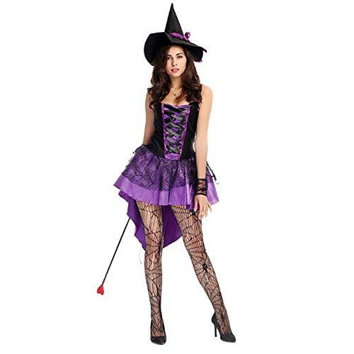 Damen Lila Hexe Schwalbenschwanz Kostüm Cosplay Inklusive Hut + Kleid + Handschuhe Für Halloween
