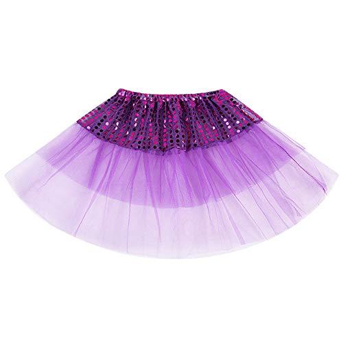 LHWY Kinder Mädchen Kleider Mini Rock Damen Mesh Elegant Elegant Hochzeit Sommer Kleinkind Ballett Tutu Prinzessin Kleid Tanzabnutzung Kostüm Party Rock (2-7T, Lila)