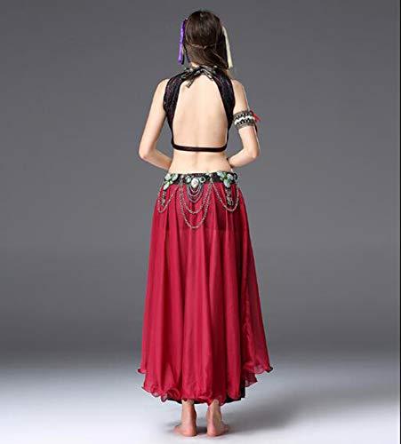 NANXCYR Damen Bauchtanz Rock Bohemian Tribal Kostüm Ice Silk Chiffon Rock Bollywood Kleid Halloween Dance Outfit Lob - Kostüm D'halloween Indienne