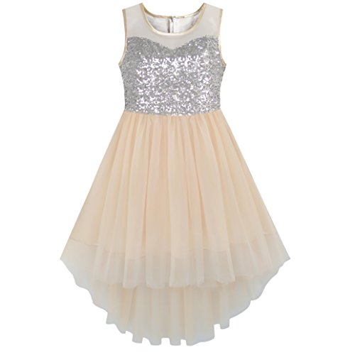 Mädchen Kleid Beige Sequined Tüll Hallo-lo Hochzeit Kleiden Gr. 134 (Kinder Bekleidung Kleine Multi)