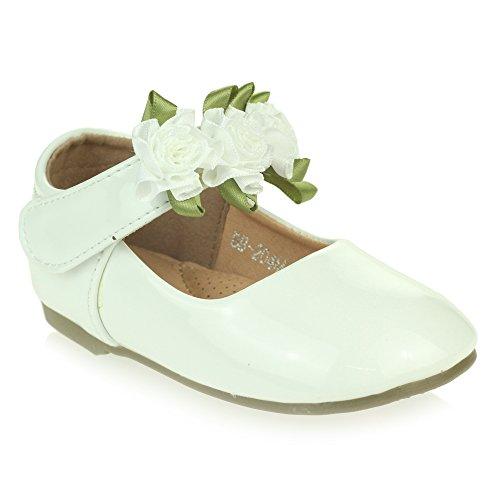 nzend Obere Blume Detail Klettverschluss Ballett Pumps Sandalen Weiß Schuh Größe 29 (Kleinkind Weiße Ballett Schuhe)