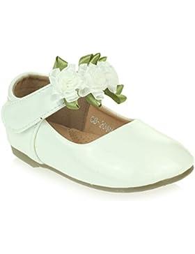 AARZ LONDON Niña Niños Brillante Superior Flor Detalle Cierre con velcro Ballet Zapatillas Sandalias Zapato Tamaño