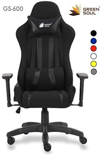 Green Soul Fabric and PU Leather Beast Gaming Ergonomic Chair (Armour Black; Medium)