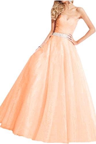 Victory Bridal Prinzessin Herzausschnitt Brautkleider Hochzeitskleider Ballkleider Abschlussfeier Hellorange