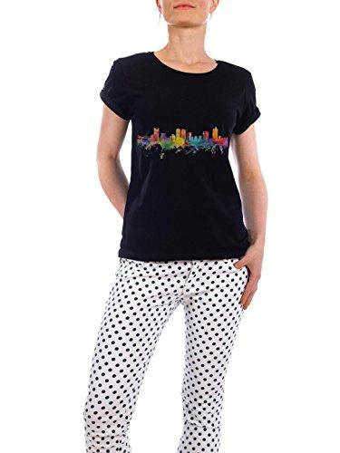 """Design T-Shirt Frauen Earth Positive """"Fort Worth Texas Watercolor"""" - stylisches Shirt Städte Reise Architektur von Michael Tompsett Schwarz"""