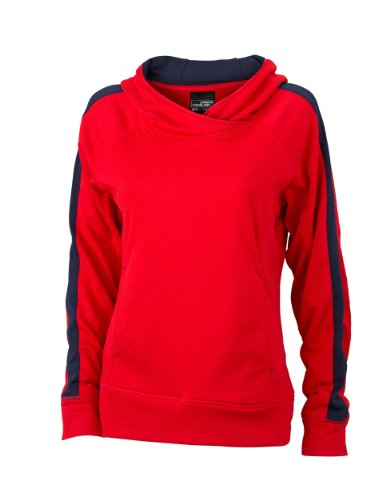 James & Nicholson Damen Sweatshirt Kapuzenpullover Sweatshirt Ladies' Hooded Red/Navy