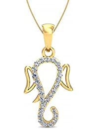 Silvernshine Lord Ganesha Pendant With Chain In 14K Yellow Gold Fn 1.2 Ct Round Cut White CZ