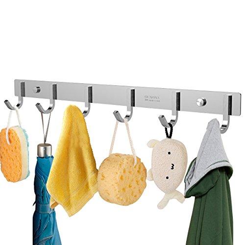 OUNONA Garderobenleiste Hakenleiste Edelstahl Garderobenhaken Mit 6 Haken für Kleidung und Schlüssel, Edelstahl, 17,32 Zoll