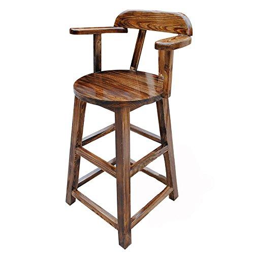 QFFL Tabouret de Bar en Bois Massif de carbonisation/Chaise de Bureau Avant créative/Tabouret Haut de Foyer (110 * 45 Cm) Tabouret d'extérieur