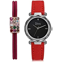DS105, orologio da donna al quarzo, orologio da donna, casual, quadrante rotondo, comodo cinturino in pelle PU