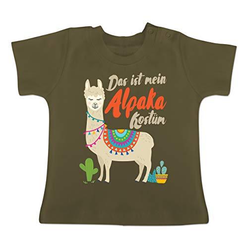 Karneval und Fasching Baby - Das ist Mein Alpaka Kostüm - 1-3 Monate - Olivgrün - BZ02 - Baby T-Shirt Kurzarm