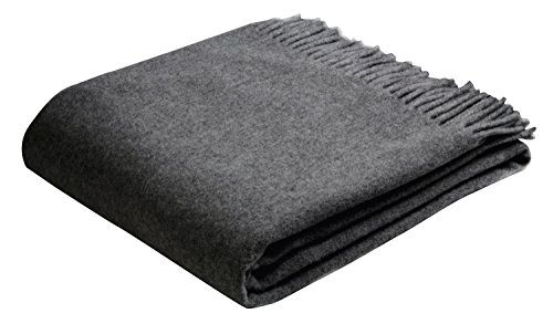 Bocasa Biederlack Conny Decke, anthrazit, 130x170 cm Blau Grau Throw Blanket