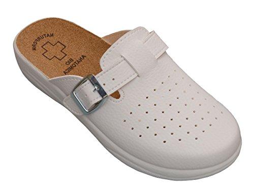 Damen Pantolette Sandalen Komfort Kork Hausschuhe Arbeit Modell 3512 (37, 3511-Weiß)