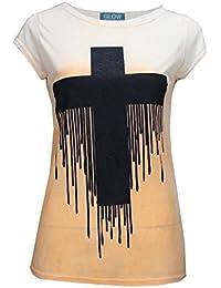 Baleza Women Ladies Short Cap Sleeve Tie-Dye Cross Drop Paint Print Top T Shirt