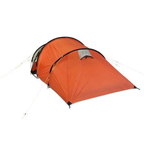 10T Mandiga 3 Orange - Tunnelzelt für 3 Personen, Campingzelt mit großer Schlafkabine, wasserdichtes Familienzelt mit 5000mm, Zelt mit 2 Eingängen und 2 Fenstern, Festivalzelt mit Dauerbelüftung, 3 Mann Zelt mit Tragetasche, Zeltheringe und Zeltgestänge - 12