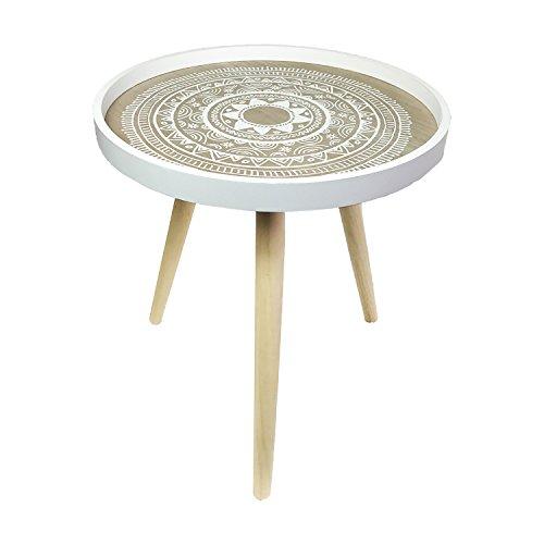 Mojawo Schöner Beistelltisch Couchtisch Dekotisch Weiß rund 3-beinig Tisch Holz im Shabby Look Ø 40cm + Höhe 45cm
