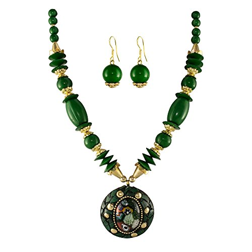 Unicorn Green Beaded Oxidized Junk Ethnic Jewellery Necklace For Girls & Women - UEFYNE30101G  available at amazon for Rs.399