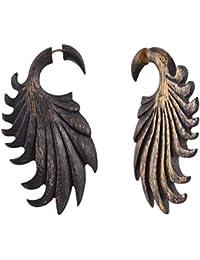 a7d36b2aa92d Aretes tibetanos de madera antigua tallada tribal africano de gran calibre  falso de 3