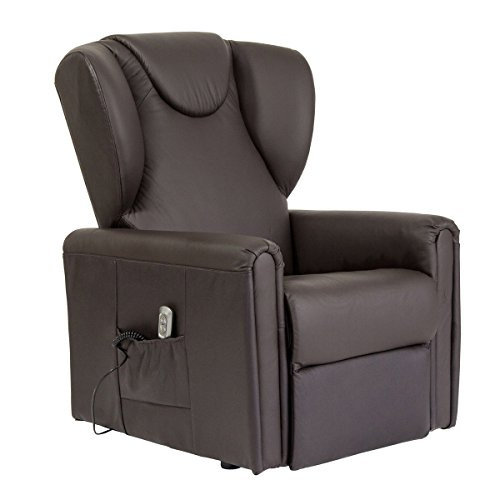 Meinrelaxsessel Sessel mit Aufstehhilfe MAGIC, 2 Motoren. Small. Lederbezug in der Farbe Dunkelbraun.