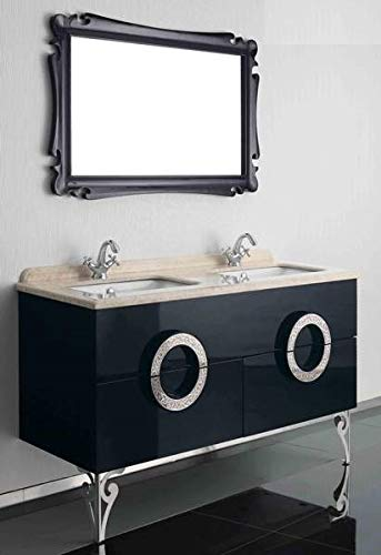 Doppelwaschtisch Designwaschtisch Luxus Waschtisch Marmor 150x85x53 Schwarz Neu