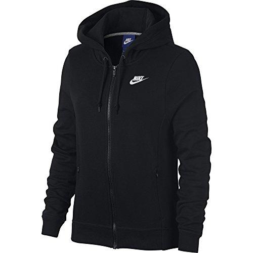 Nike 853932-010 Veste à Capuche Femme, Noir/Blanc, FR : L (Taille Fabricant : L)