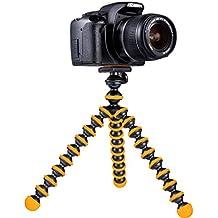 Mygadget Mini Trípode de mesa para Cámara con Placa [360 °] de liberación rápida - Soporte estabilizador flexible para GoPro, Nikon, Canon etc. Negro & Naranja