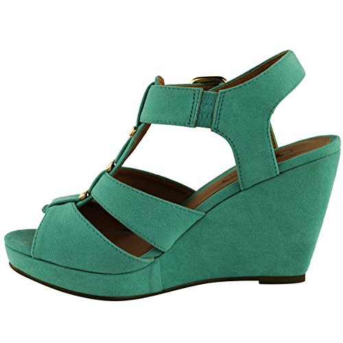 Sandali da Donna a Zeppa con Cinturino Punta Aperta Tacco Alto Medio Basso menta verde camoscio