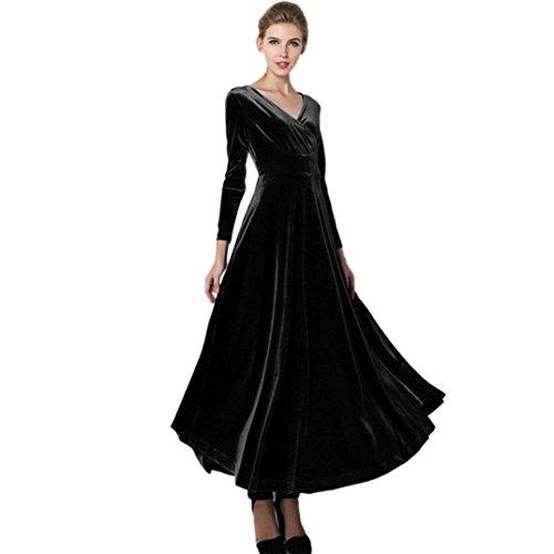 Kleid damen Kolylong® 2017 Frauen Elegant Samt Lang Kleid mit V-Ausschnitt Herbst Winter Elegant Langarm Kleid Cocktails Party kleid Abendkleid Plus Size Kleid S-XXXL (L, Schwarz) (Schwarzer Kleid Langen Samt)