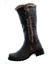 Stiefel Damen Schuhe Schwarz Braun Khaki dünn gefüttert kleiner Absatz