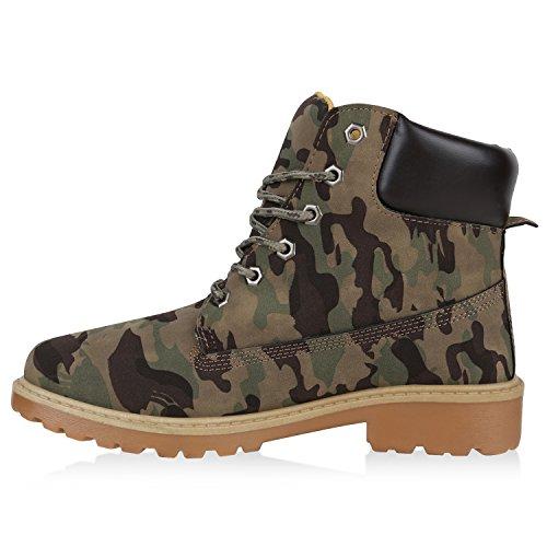 UNISEX Damen Herren Worker Boots Profil Sohle Stiefeletten Outdoor Schuhe Camouflage Grün