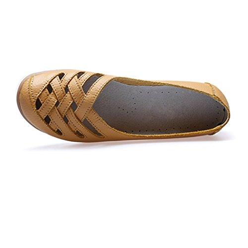 Oriskey Damen Mokassin Bootsschuhe Leder Loafers Schuhe Flache Fahren Halbschuhe Slippers Gelb