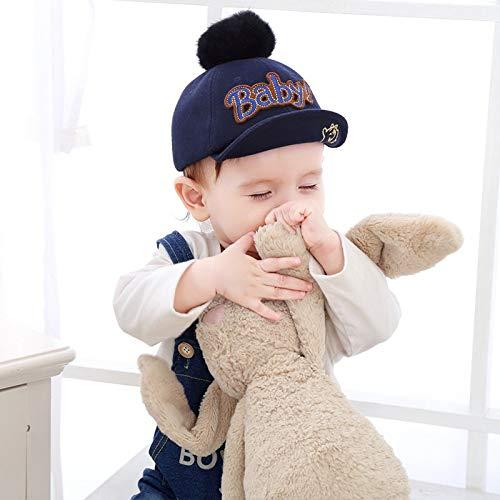 Kostüm Baby Hillbilly - Neue Material Kinder baseballmütze Mode Stickerei plüsch Ball weich entlang der Kappe Baby Hut blau 46-50 cm geeignet für 6-36 Monate
