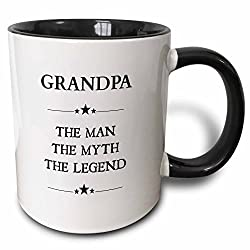 3dRose Grandpa the man the myth the legend - Two Tone Black Mug, 11oz (mug_221824_4), 11 oz, Black/White