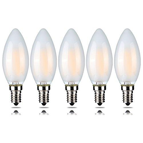 5 Stück C35 4W dimmbare LED-Glühfaden Kerze-Birne – Warm White 2700K 400lumen – E14 – Torpedo-Form – 360 ° Abstrahlwinkel Licht – 5 Stück [der Energieeffizienzklasse A ++]