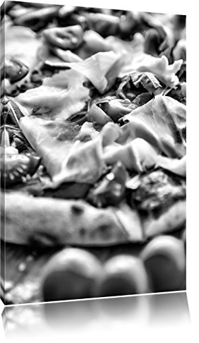 Pixxprint Pizza mit Parmaschinken / 120x80cm Leinwandbild bespannt auf Holzrahmen/Wandbild Kunstdruck Dekoration